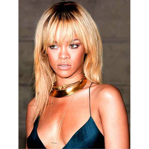 Rihanna in the Satin Gold Collar Hinged Necklace
