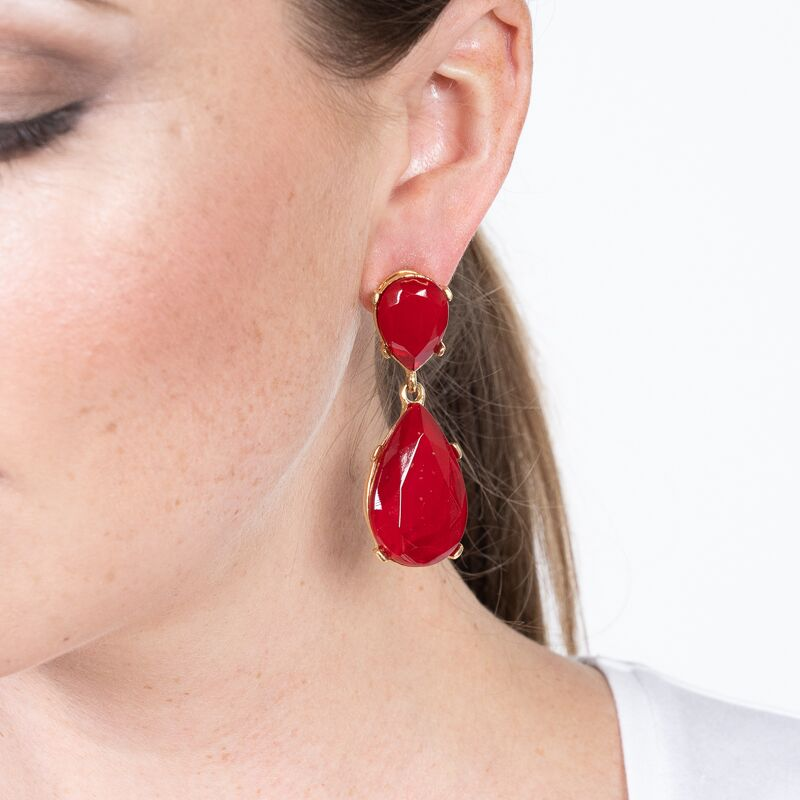 Ruby Drop Pierced Earrings