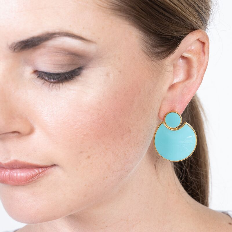 Turquoise Enamel Doorknocker Pierced Earrings