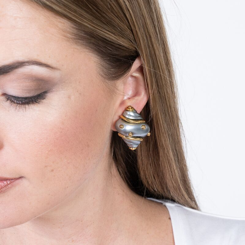 Grey Pearl Shell with Gold Dots Clip Earrings