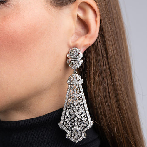 SIlver and Crystal Large Prism Drop Clip Earrings