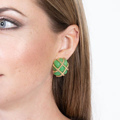 Gold Trim Jade Quilted Clip Earrings