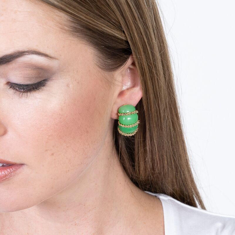 Jade Resin Gold Wire Wrapped Clip Earrings