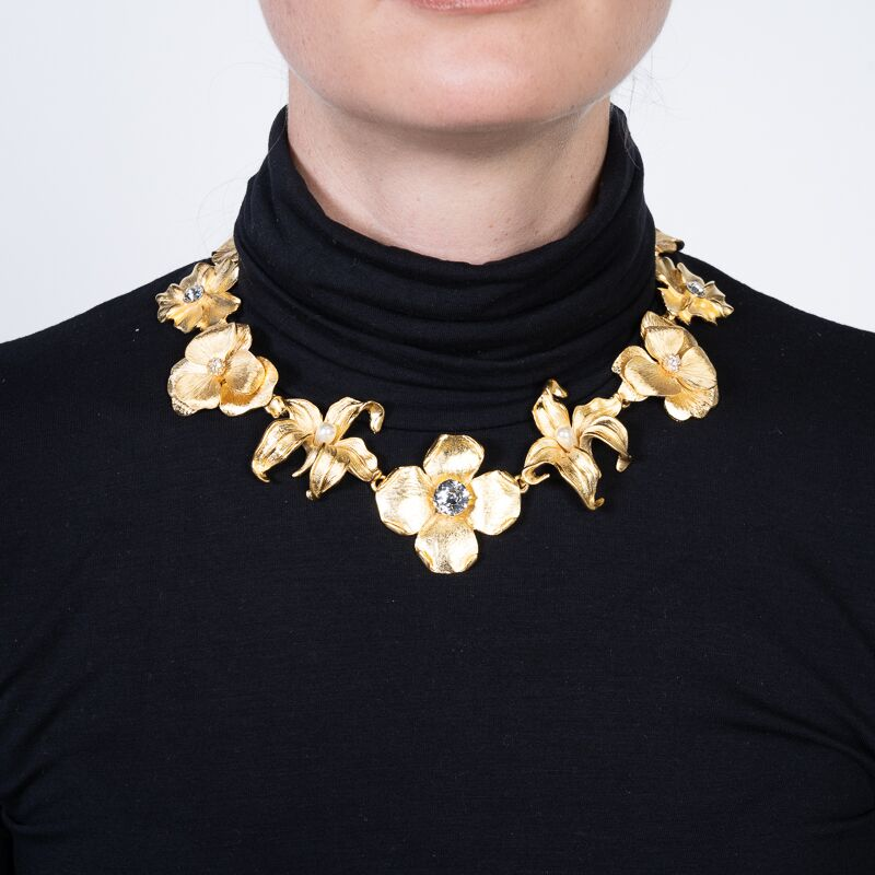 Satin Gold Flower Necklace with Crystal and White Pearl Centers