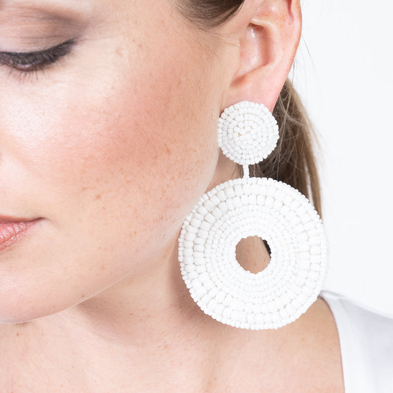 White Seedbead Circle Drop Pierced Earrings