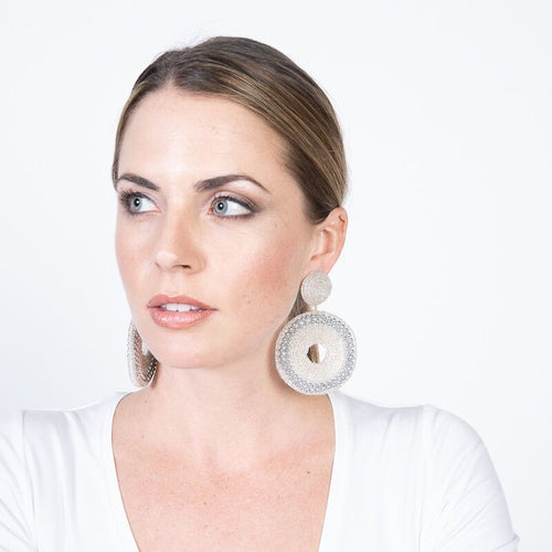 Silver Seedbead Circle Drop Pierced Earrings