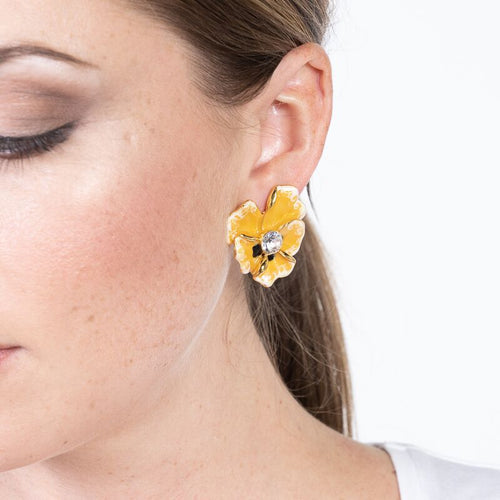 Yellow Enamel Crystal Center Flower Clip Earrings
