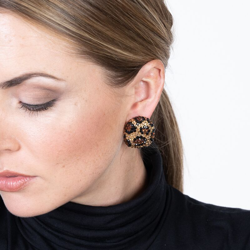 Jet and Topaz Pave Print Button Clip Earrings