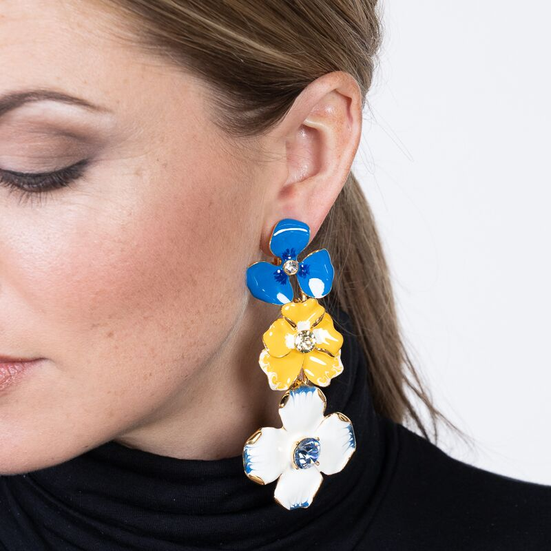 Multi Colored Enamel Flower Drop Clip Earrings