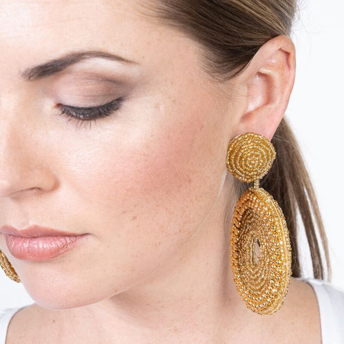 Gold Seedbead Circle Drop Pierced Earrings