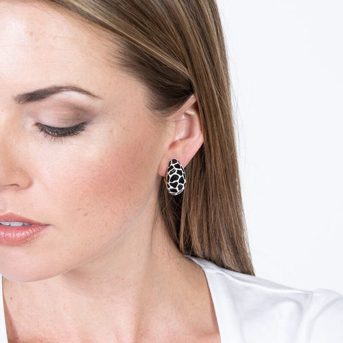 Black & White Leopard Half Hoop Clip Earrings