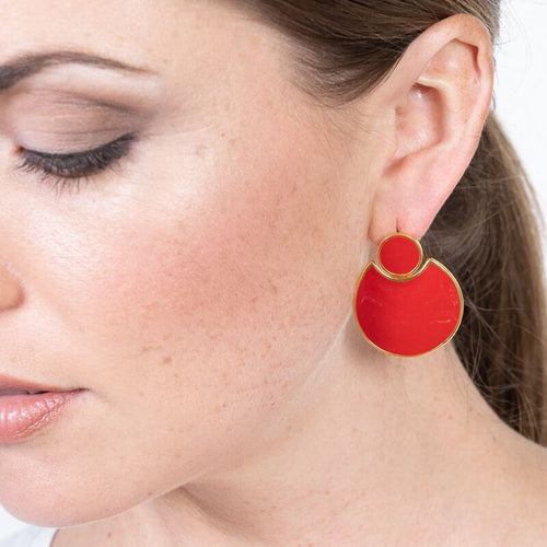 Red Enamel Doorknocker Pierced Earrings