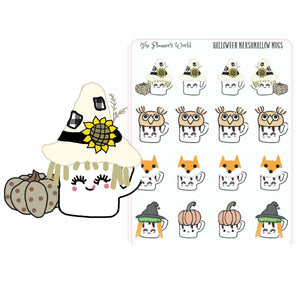 Cute Halloween Marshmallow Mugs planner stickers