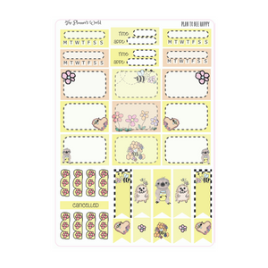 Plan to Bee Happy weekly vertical Sticker Kit - The Planner's World