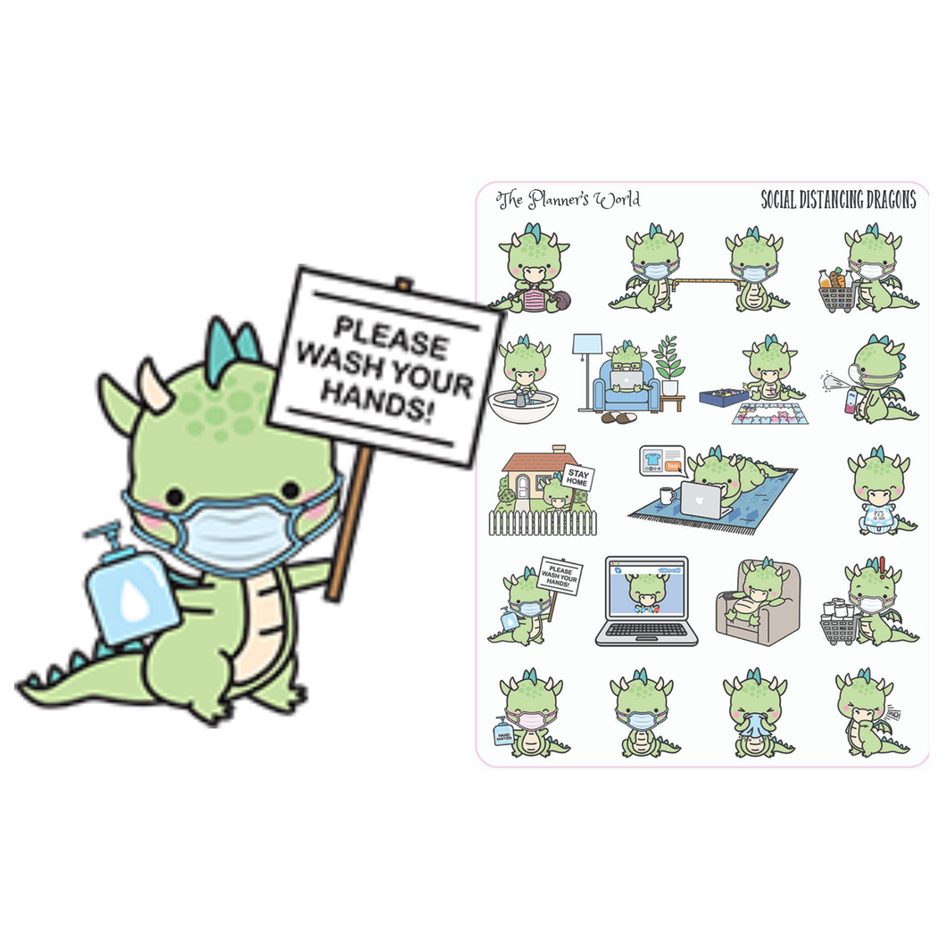 Social Distancing Dragons planner stickers - The Planner's World