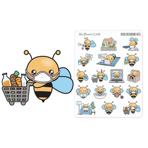 Social Distancing Bees planner stickers - The Planner's World