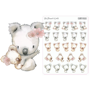 Clingy Koala Planner stickers - The Planner's World