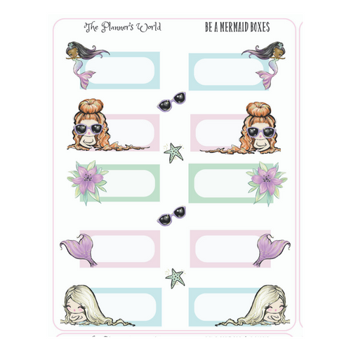 Be a Mermaid Boxes Planner Stickers - The Planner's World