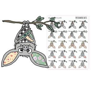 Patchwork Bat Spooky Planner Stickers - Bat Sticker - The Planner's World
