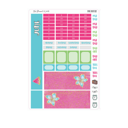 June Monthly Hobonichi Sticker Kit - The Planner's World