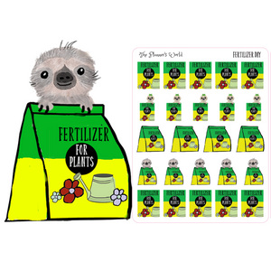 Moxie sloth fertilize day Planner Stickers - The Planner's World
