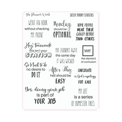 sassy sarcastic funny adulting stickers - The Planner's World