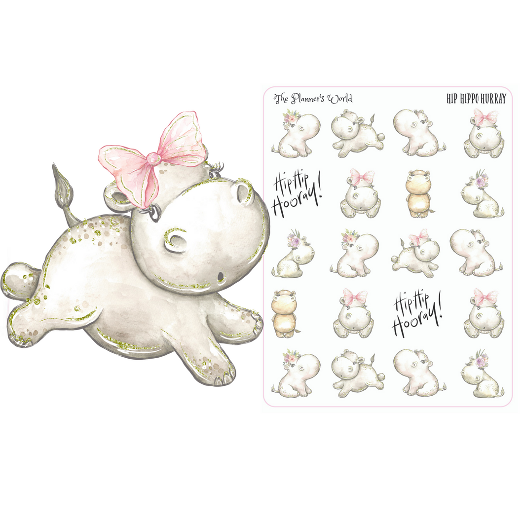 Hip Hippo Hurray planner stickers