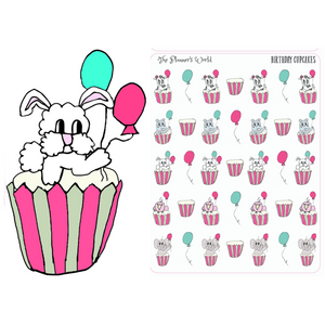 Birthday Cupcakes Planner Stickers