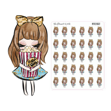 Movie Night tv Petite Doll popcorn Planner stickers - The Planner's World