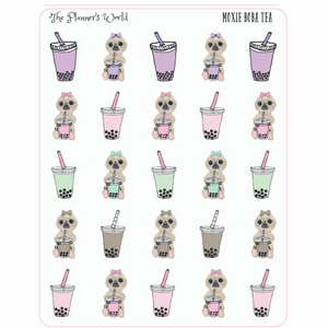 Sloth Boba Tea planner stickers - Moxie