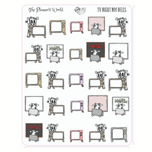 Tv Movie Night Planner Stickers - Moobell cow character stickers