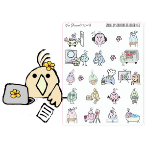 Social Distancing Featherbies planner stickers - The Planner's World