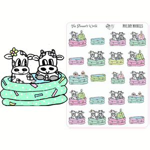 Pool Day Planner stickers - Moobells, Featherbies and sloths