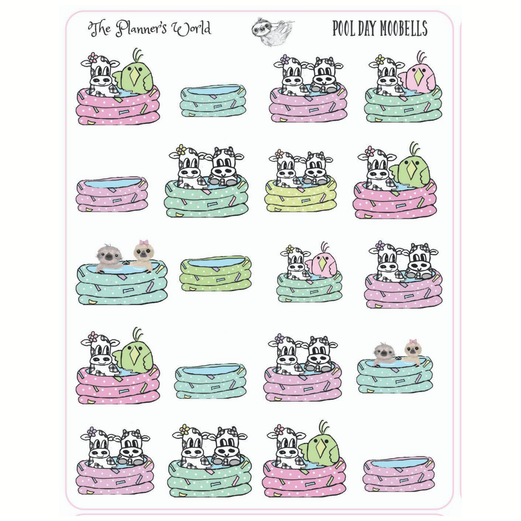 Moobells & Friends Pool Party Planner stickers