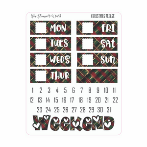 Christmas Please weekly vertical Planner Sticker Kit