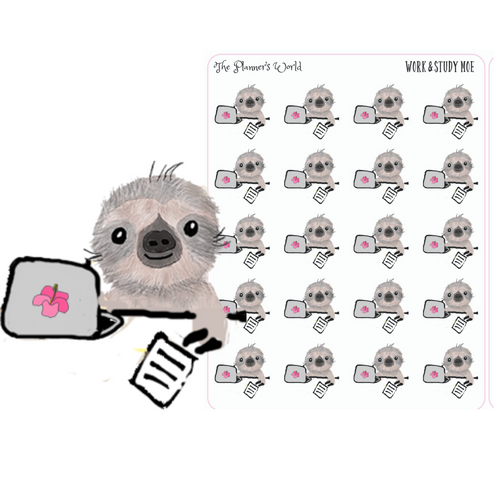 Study & Work Moe the Sloth stickers - The Planner's World