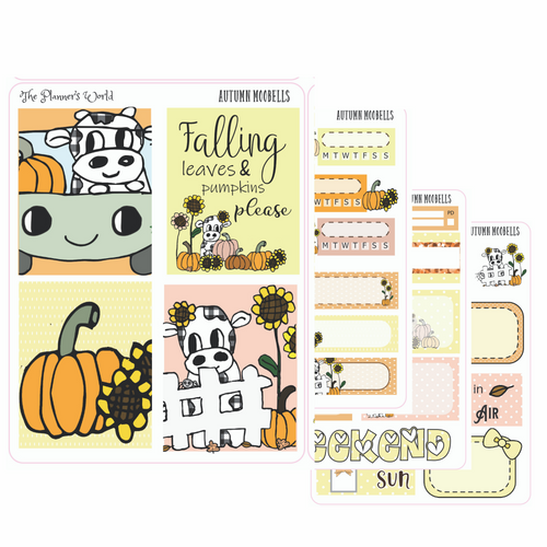 Autumn Moobells Micro Kit Planner Stickers