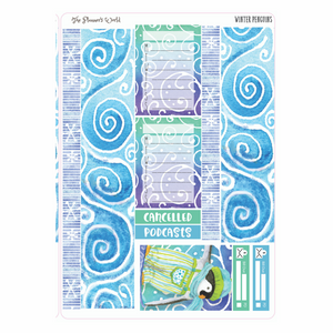 Winter Penguins weekly planner kit stickers