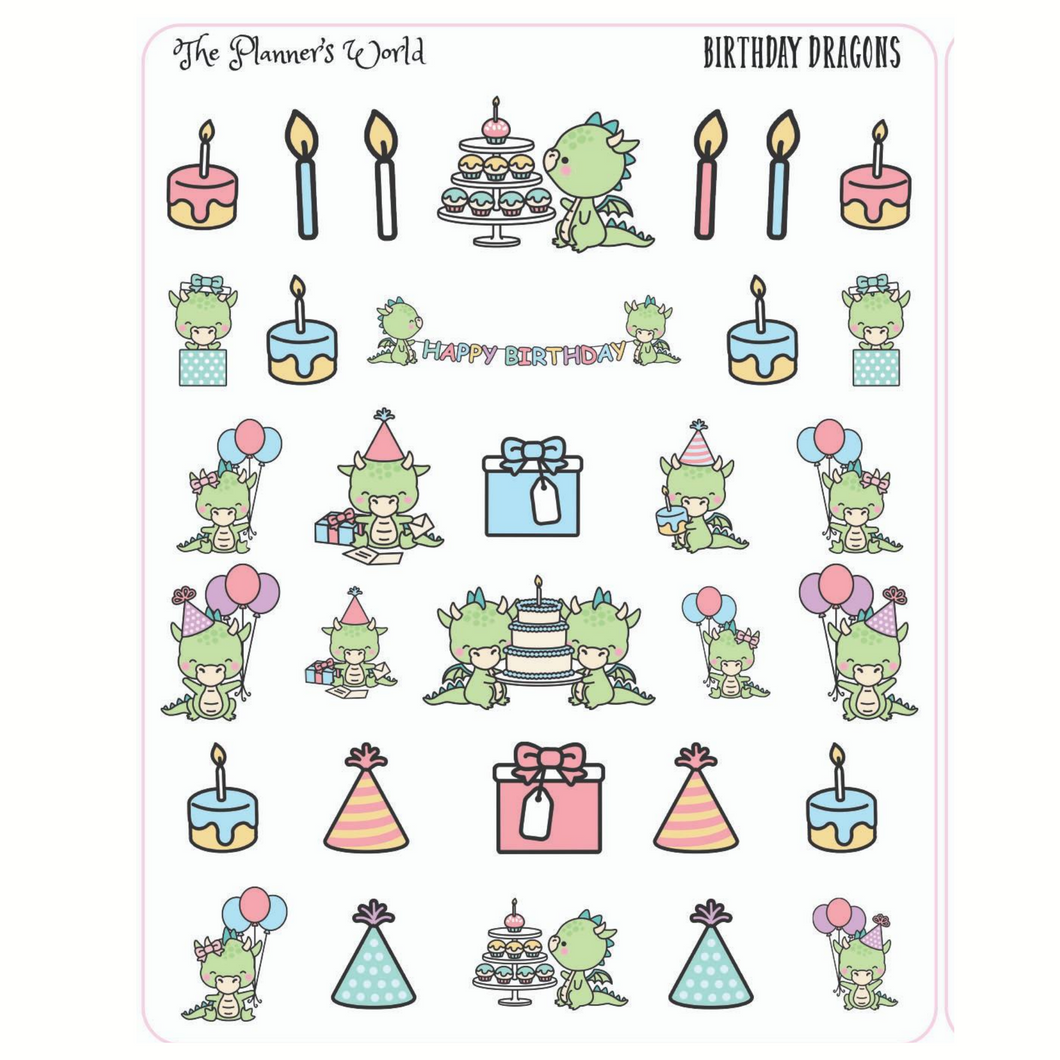 Birthday Party Dragon Planner Stickers