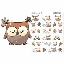 Thankful Owls Planner Stickers
