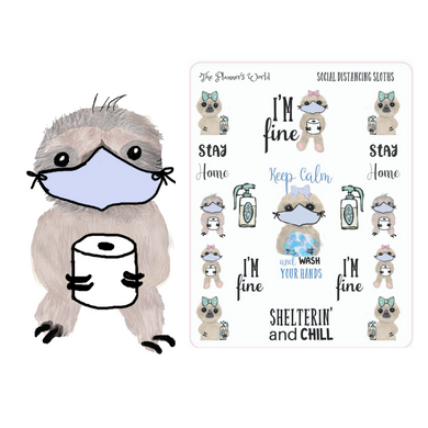 Shelter in place sloth planner stickers - The Planner's World