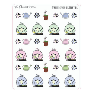 Featherbies Planting Flowers Planner Stickers - The Planner's World