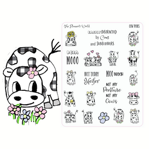 Sassy sarcastic funny cow pun planner stickers - The Planner's World