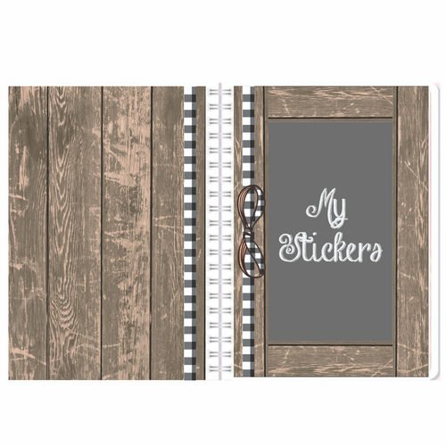 Farmhouse Chalkboard Reusable Sticker Album  5 x 7