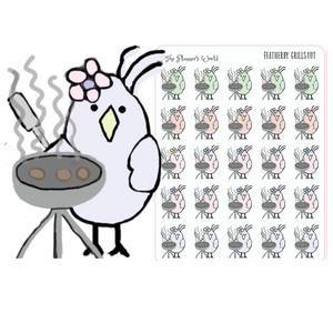 Grill out Featherby planner stickers - The Planner's World
