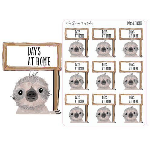 Days at home Moe the Sloth stickers - The Planner's World