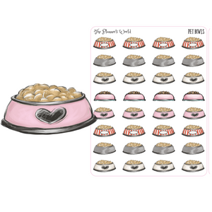 Pet Food Bowl reminder stickers