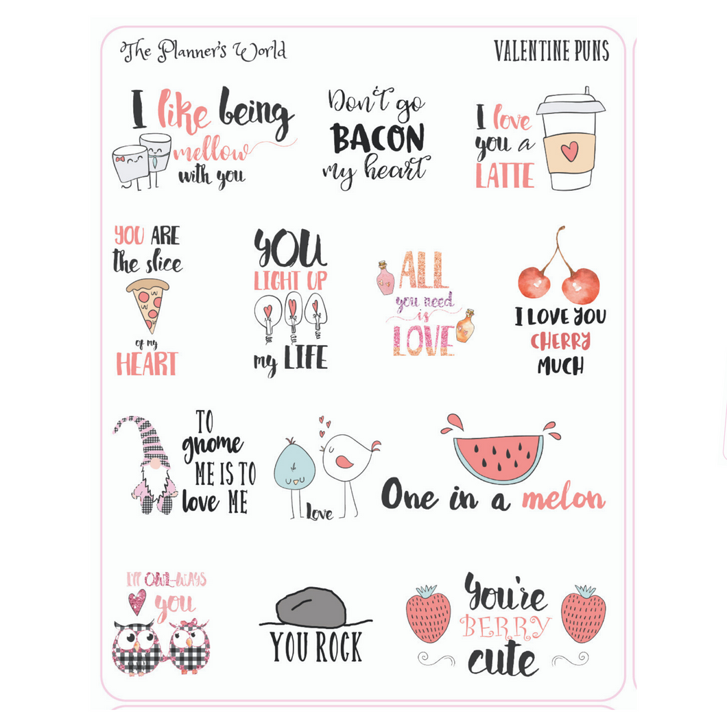 Valentine Pun Planner Stickers - Funny Stickers - Aesthetic Stickers - The Planner's World
