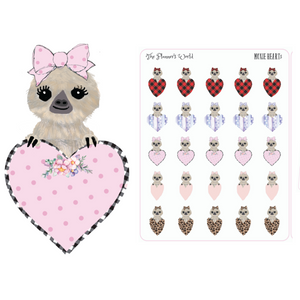 Moxie Heart Planner Stickers - Leopard Hearts - Buffalo Plaid Hearts - Valentines Planner Stickers - sloth stickers - The Planner's World