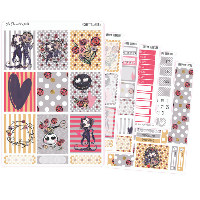 Deluxe Weekly Sticker Kit For Use With ECLP - Creepy Kooky Valentine weekly vertical Sticker Kit - valentines kit - deluxe vertical kit - The Planner's World